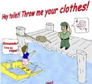 "Cartoon ""Throw me your clothes!"" by Chuck Butler"